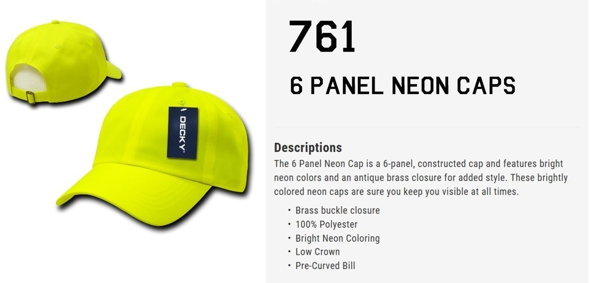 CUSTOM EMBROIDERY Personalized Customized Decky 6 Panel Neon Curved Cap 761