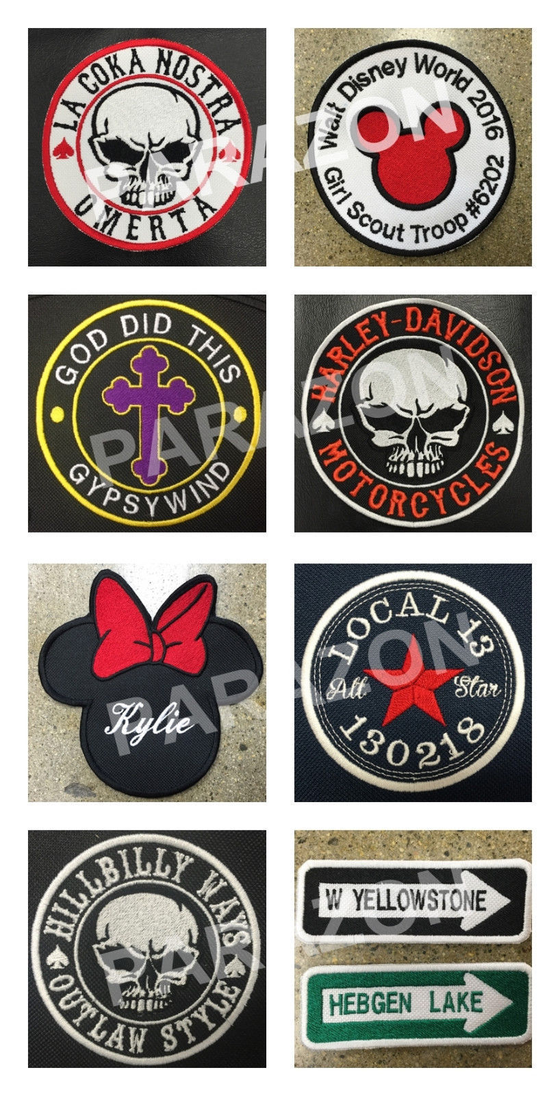 """Custom Embroidered Name Tag Motorcycle Biker Sew on Patch 3.75"""" x 2"""" (B)"""