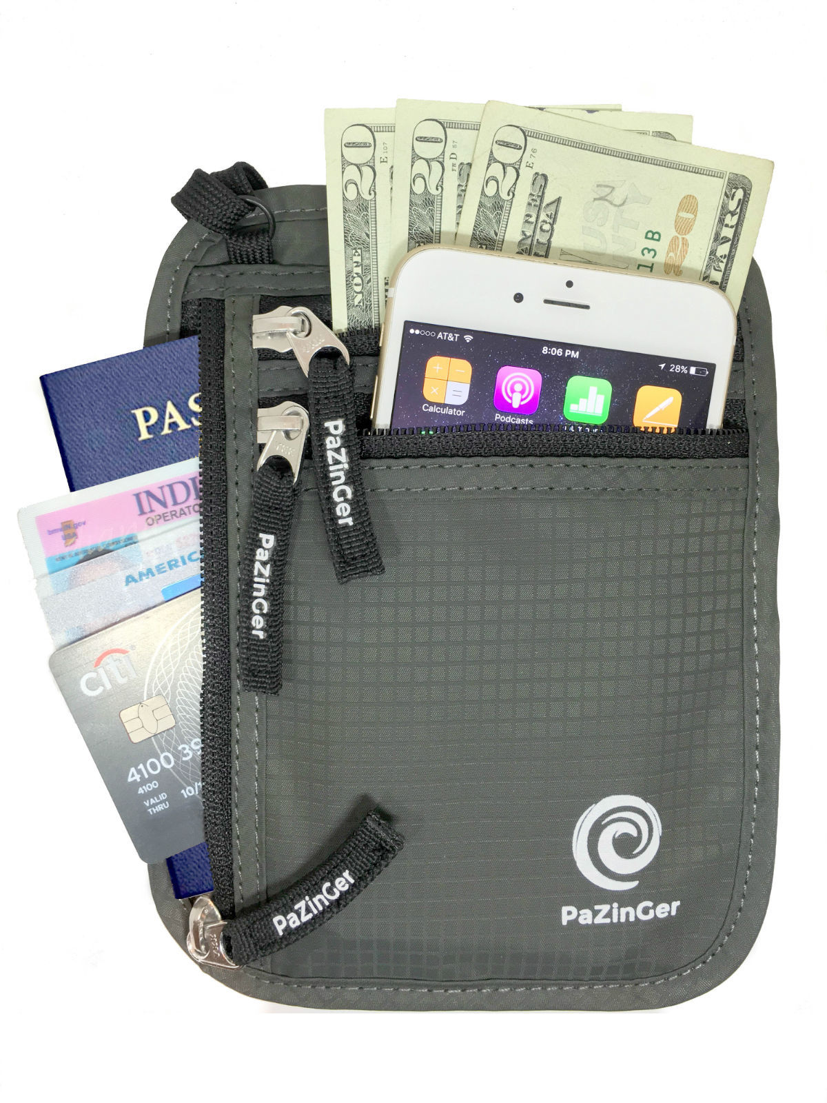 Travel Wallet and Passport Holder Neck Pouch -RFID Blocking Neck Wallet