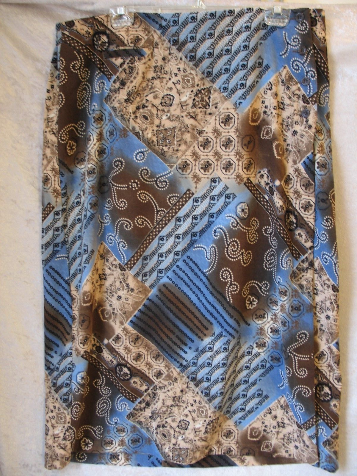 Women's Ladies Brown & Blue Floral Stretch Skirt by Christopher Banks Plus SZ18