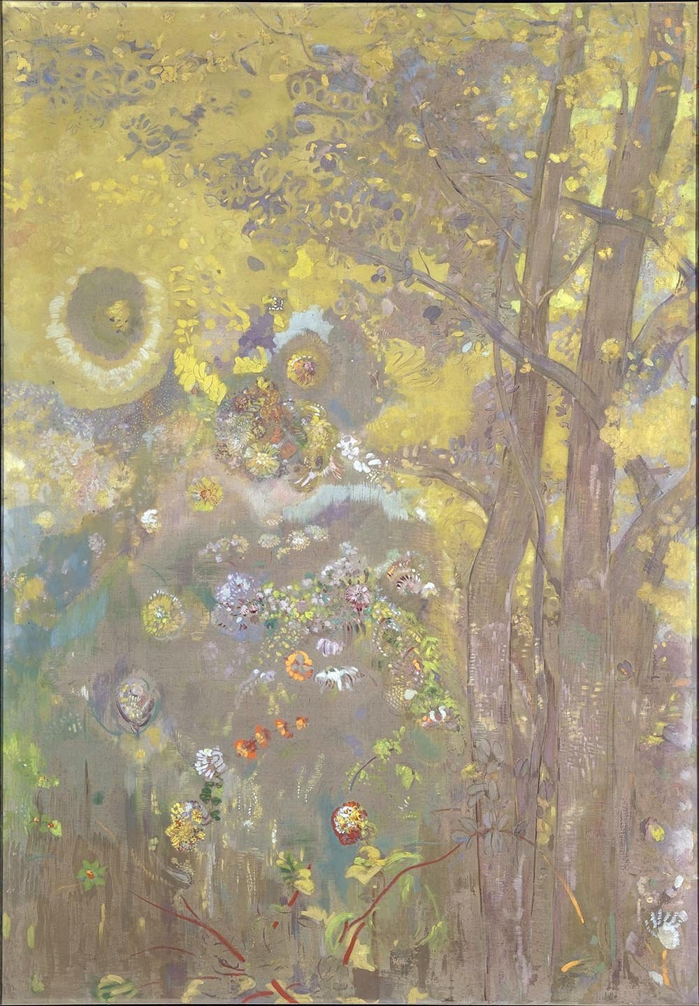 100% Hand Painted Oil on Canvas - Odilon Redon - Trees on a yellow Background...