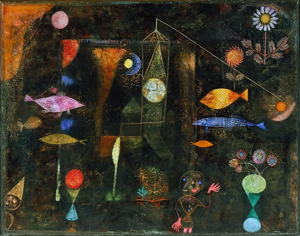 100% Hand Painted Oil on Canvas - Paul Klee - Fish magic - 30x40 Inch