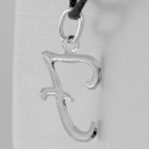 18K WHITE GOLD PENDANT CHARM INITIAL LETTER F, MADE IN ITALY 1.0 INCHES, 25 MM image 2
