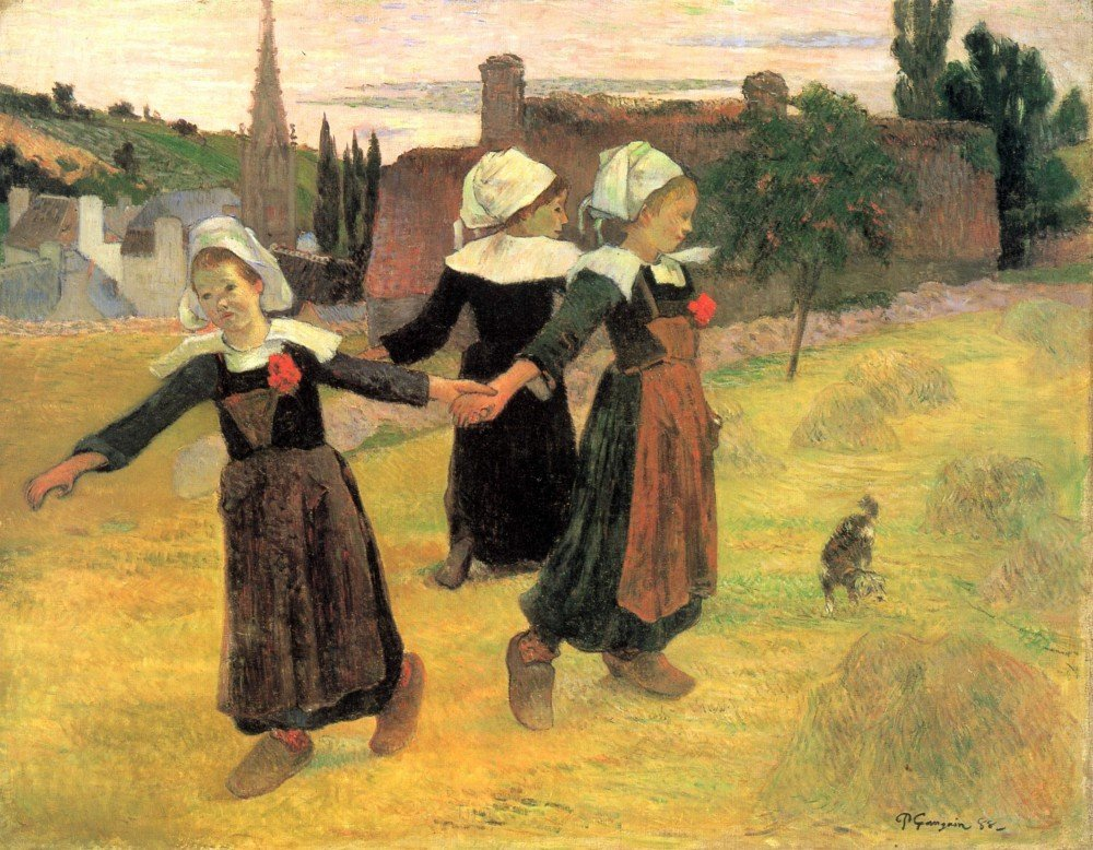 100% Hand Painted Oil on Canvas - Small Breton Women by Gauguin - 20x24 Inch