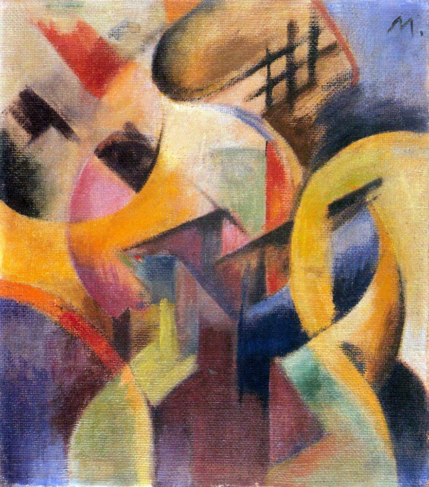 100% Hand Painted Oil on Canvas - Small composition I by Franz Marc - 20x24 Inch