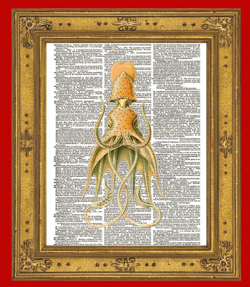 SQUID No. 3 Fanciful Color Antique Art Vintage Dictionary Art Print No. 0065