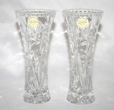 LENOX CRYSTAL Star Vase  Set of 2  NEW w/Certificates  #938