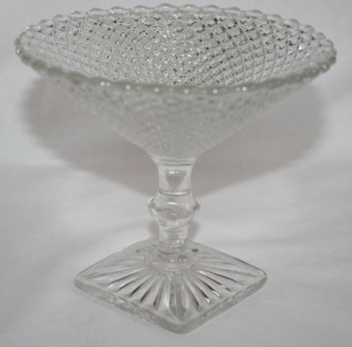 Vintage WESTMORELAND English Hobnail Clear Compote   #614
