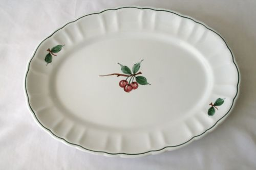 DAYTON'S Hand Painted Italy White Cherry Oval Serving Platter  #1293