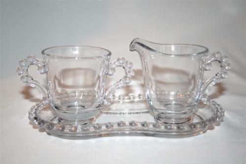 IMPERIAL GLASS CANDLEWICK Elegant Clear 3 Pc Creamer Sugar Tray #1083