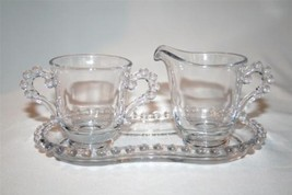 IMPERIAL GLASS CANDLEWICK Elegant Clear 3 Pc Creamer Sugar Tray #1083 - $30.00