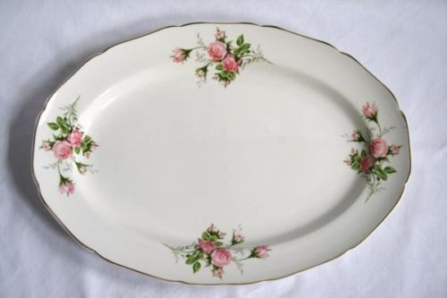 Vintage 1930's CANONSBURG Rose Bouquet Gold Trim Large Oval Serving Platter #532