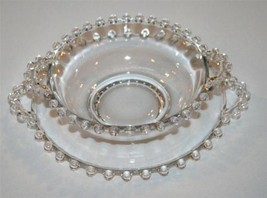 Imperial Glass Candlewick Elegant Clear 2 Pc Handled Mayo Set #1104 - $38.00