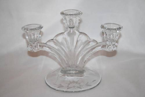 Vintage Paden City Glass Clear Depression Crows Foot 3 Light Candlestick #1530