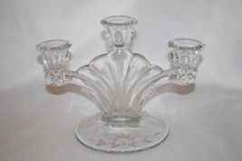 Vintage Paden City Glass Clear Depression Crows Foot 3 Light Candlestick... - $20.00