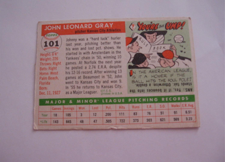 Johnny Gray    Topps 101  Baseball Card  John Leonard Gray pitcher Kansas City A