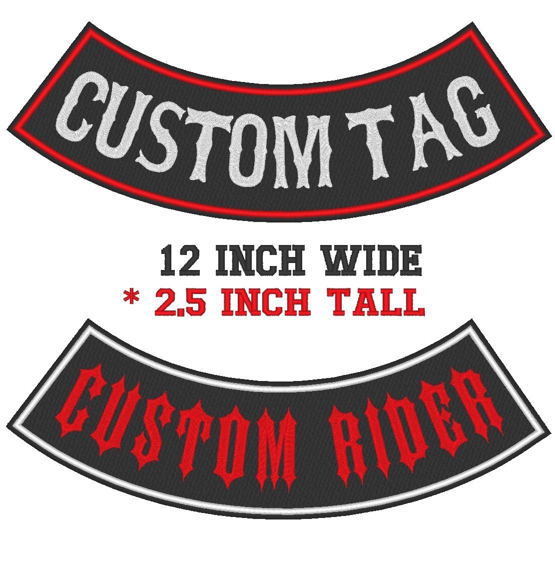 "Custom Faux Leather 12"" Top And Bottom Rocker Biker MC Vest Sew on Patch (B)"