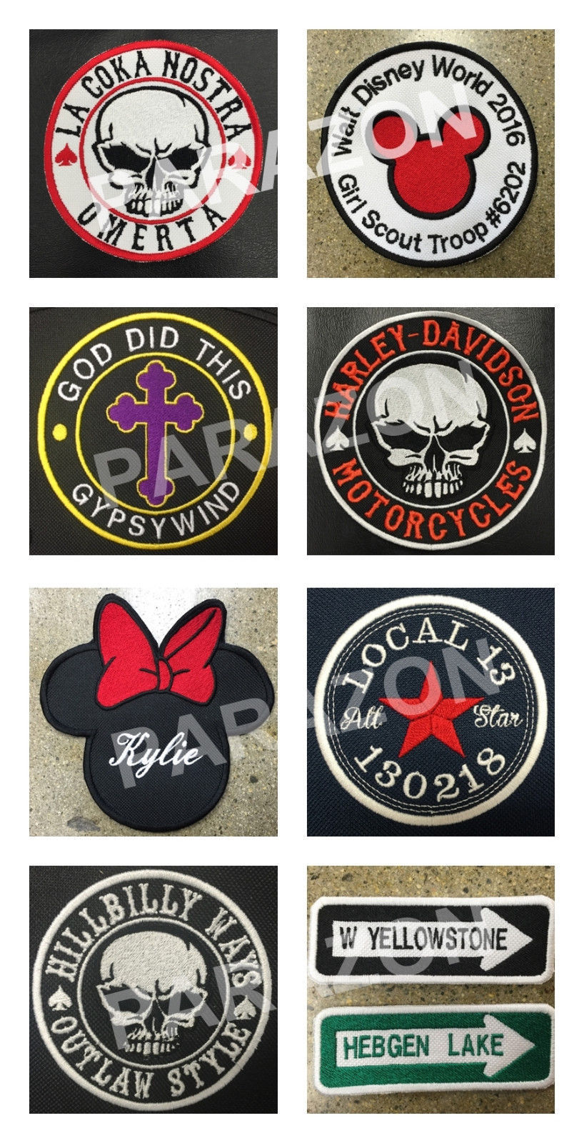 """Custom Embroidered Motorcycle Bottom Rocker Name Tag Sew on Patch 4"""" x 1.90"""""""