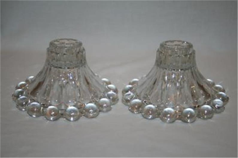 Anchor Hocking Boopie Clear Glass Candle Holders Set of 2  #651