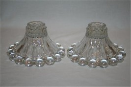 Anchor Hocking Boopie Clear Glass Candle Holders Set of 2  #651 - $25.00