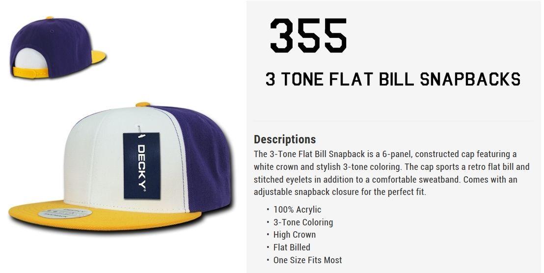 CUSTOM EMBROIDERY Personalized Customized Decky  3-Tone Flat Bill Snapback  355