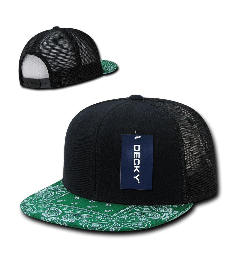 DECKY 6 Panel Flat Bill  Bandana Print Trucker Mesh Snapback  Hat Cap 1083