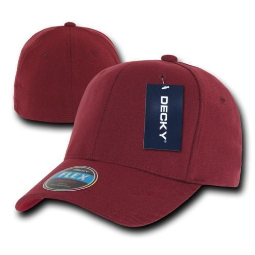 DECKY  Plain Blank Curved Bill 22 Colors  FITALL FLEX FITTED Cap Hat 1016W