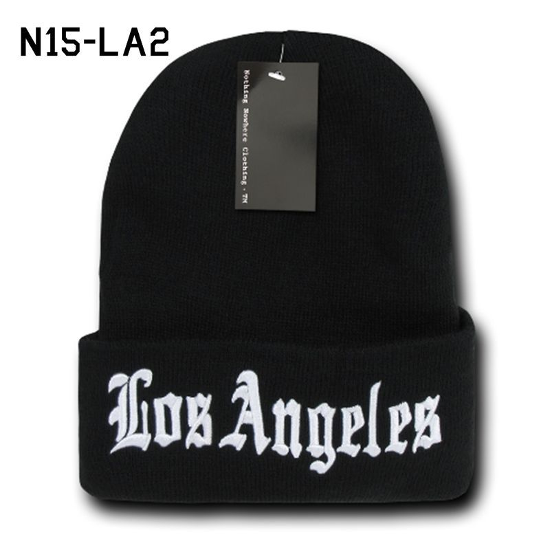 DECKY Los Angeles City Long Cuffed Beanie Old English Font Knit