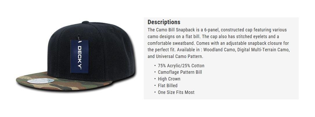 DECKY 6 Panel Plain Blank Camouflage Camo Skin  Flat Bill Snapback Cap Hat 356