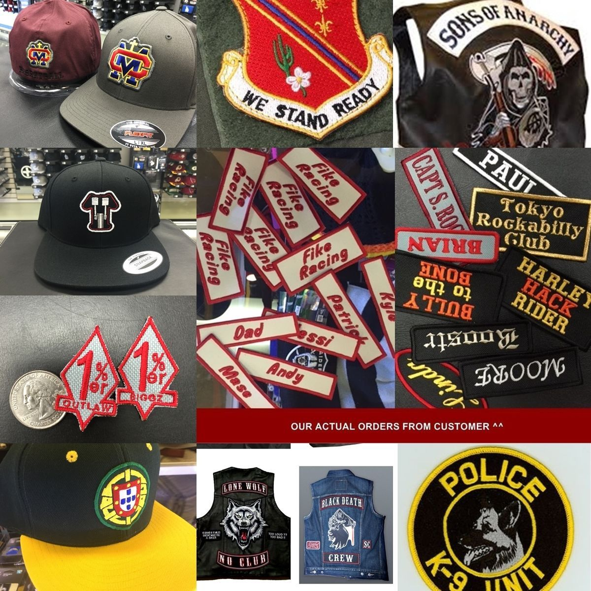 "Custom Embroidered Top and Bottom Rocker Ribbon Patch Biker MC Badge 10"" (E)"