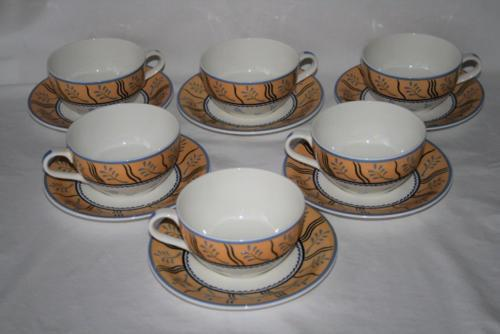 Rorstrand Sweden Set of 6 Oversized Breakfast Coffee Cups & Saucers  #2080
