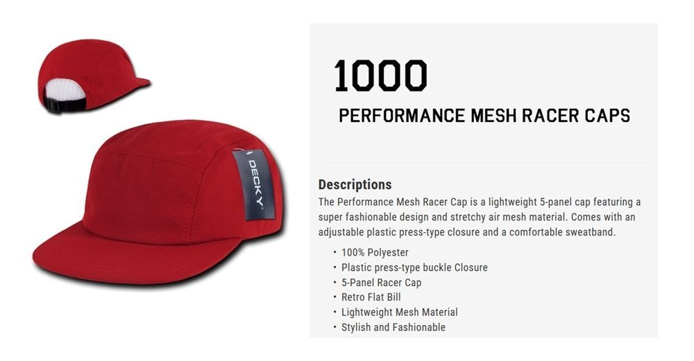CUSTOM EMBROIDERY Personalized Customized Decky Performance Mesh Racer Cap 1000