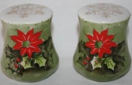 Vintage Lefton China 4390 Poinsettia Salt & Pepper Shaker Set -New in Bo... - $30.00
