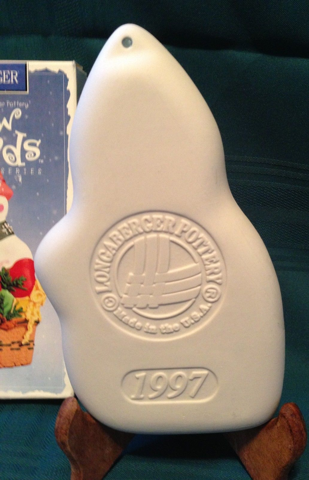 LONGABERGER 1997 CHRISTMAS HOLIDAY NIB SNOWMAN FRIENDS COOKIE MOLD CHILLY