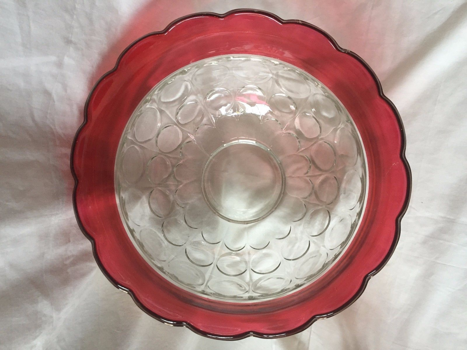 Vtg Kings Crown Punch Bowl, 11 Cups Ruby Red Indiana Flash Glass Holiday Set