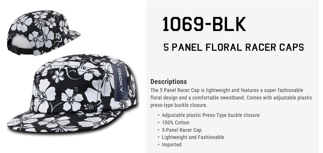 DECKY 5 Panel Floral Racer Adjustable Cap Hat 1069 1070