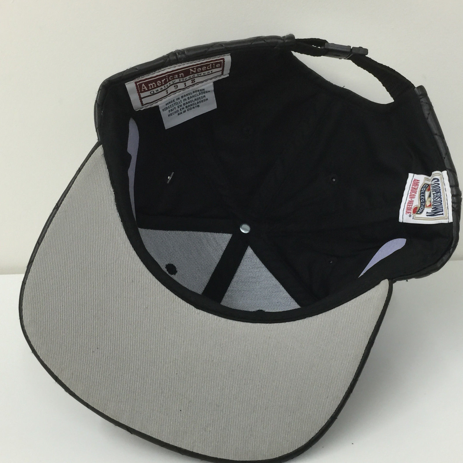 American Needle MLB Pittsburgh Pirates Quilted Black Strapback Cap Hat 12839