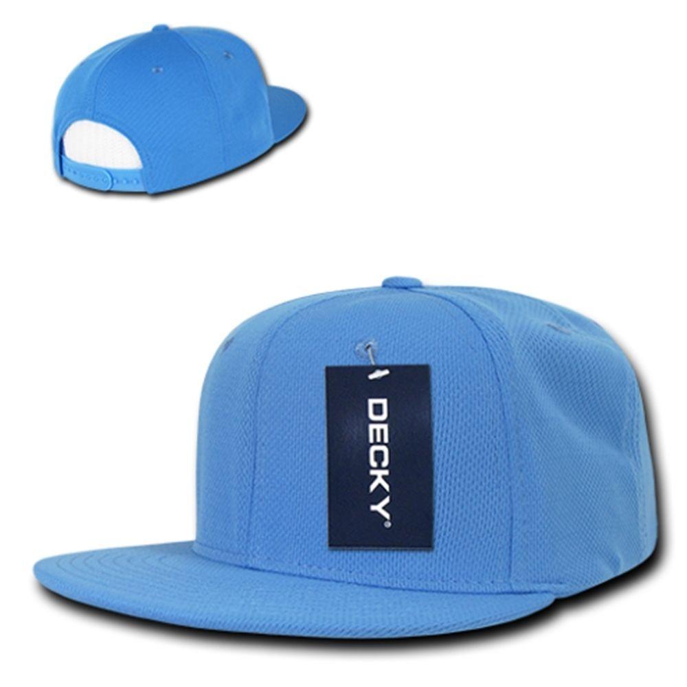 DECKY 6 Panel Retro FLAT Bill Air Performance Mesh Snapback Cap Hat 1072