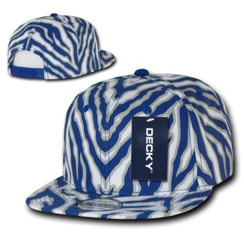 DECKY 6 Panel Solid Ziger Animal Zebra Print Flat Bill Snapback Cap Hat 1060