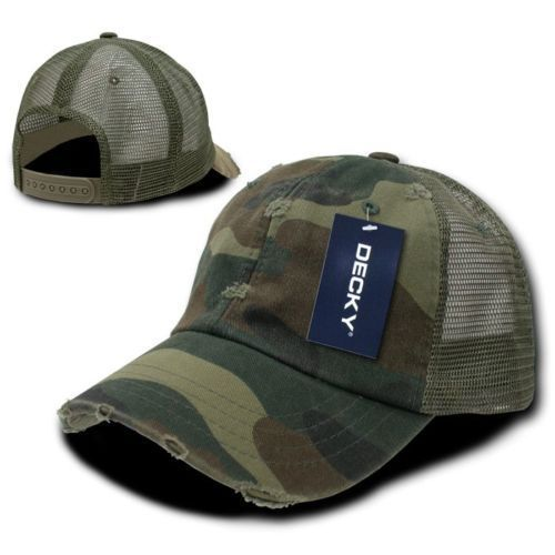 DECKY 6-Panel Pre- Curved Bill Vintage Mesh Washed Cotton Snapback Cap  Hat 110