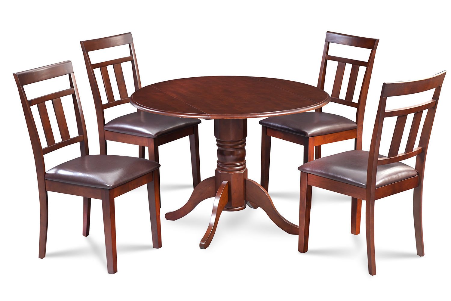 """42"""" BURLINGTON DINETTE DINING TABLE SET FAUX LEATHER SEAT CHAIRS IN MAHOGANY"""