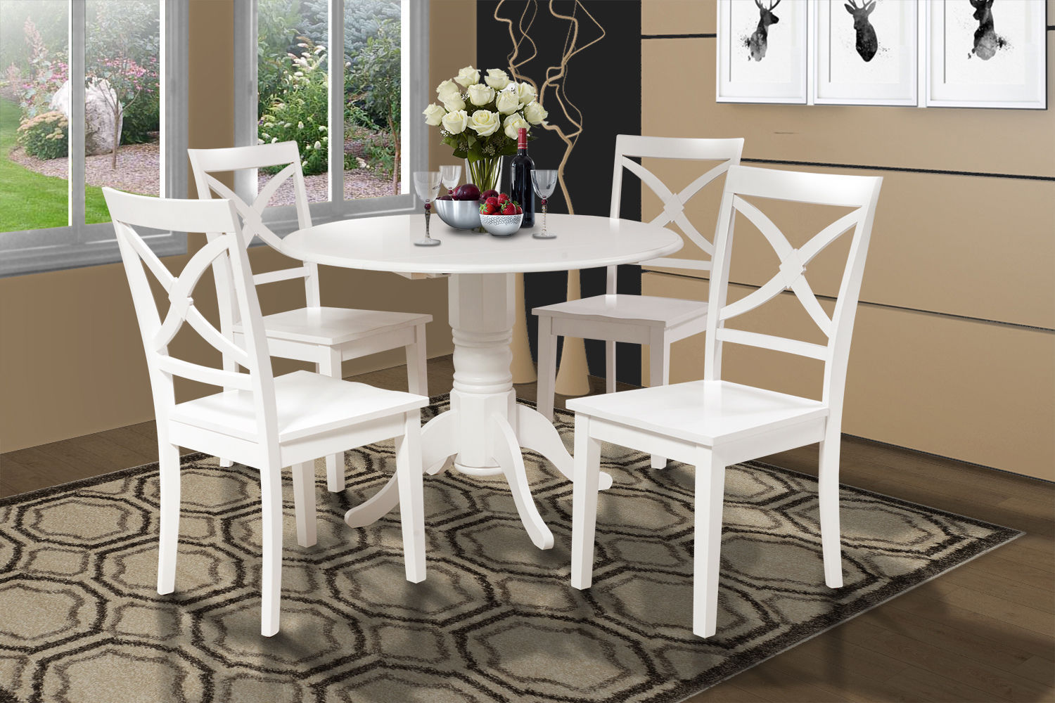 SET OF 2 KITCHEN DINING SIDE CHAIRS w/ WOODEN SEAT IN  WHITE FINISH
