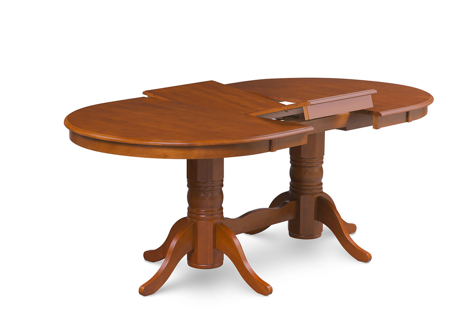 9-PC SET OVAL DINETTE DINING ROOM TABLE w/ 8 WOOD SEAT CHAIRS, SADDLE BROWN