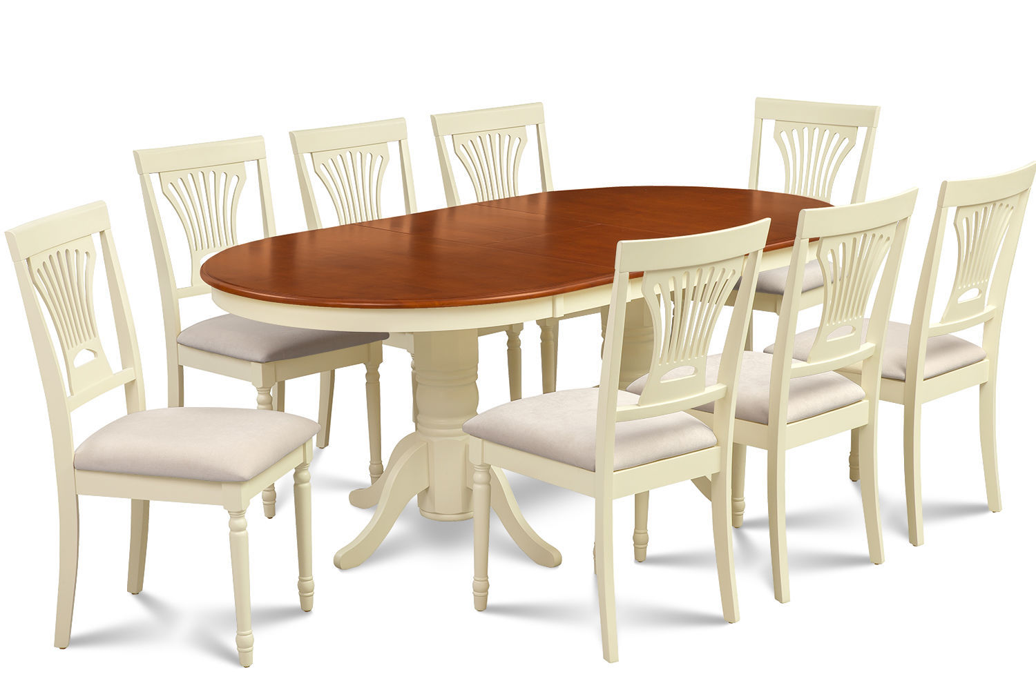 """DINING ROOM TABLE SET 42""""X78"""" W. SOFT-PADDED SEAT IN BUTTERMILK & CHERRY"""