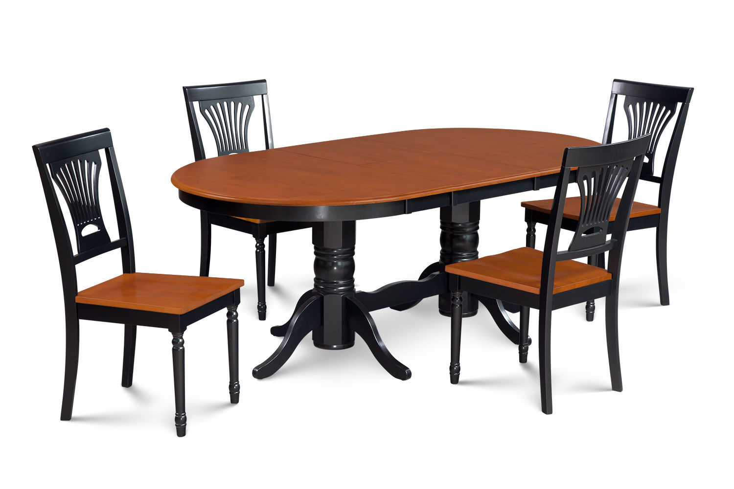 SOMERVILLE OVAL DINETTE DINING ROOM TABLE SET IN BLACK & CHERRY