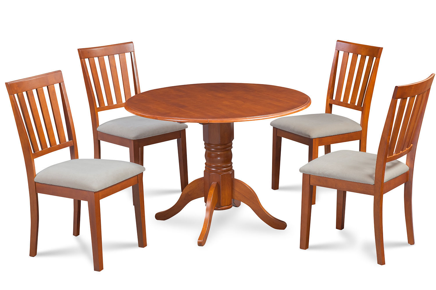 """42"""" BURLINGTON DINETTE DINING TABLE SET SOFT-PADDED SEAT CHAIRS SADDLE BROWN"""