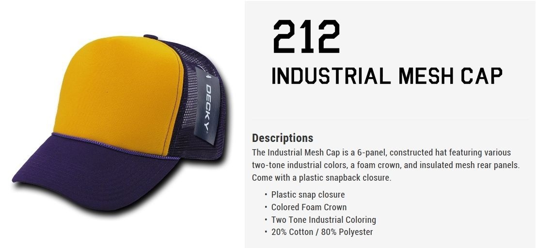 DECKY 6-Panel Two Tone  Industrial Mesh  Form Crown Snapback Cap Caps Hat 212