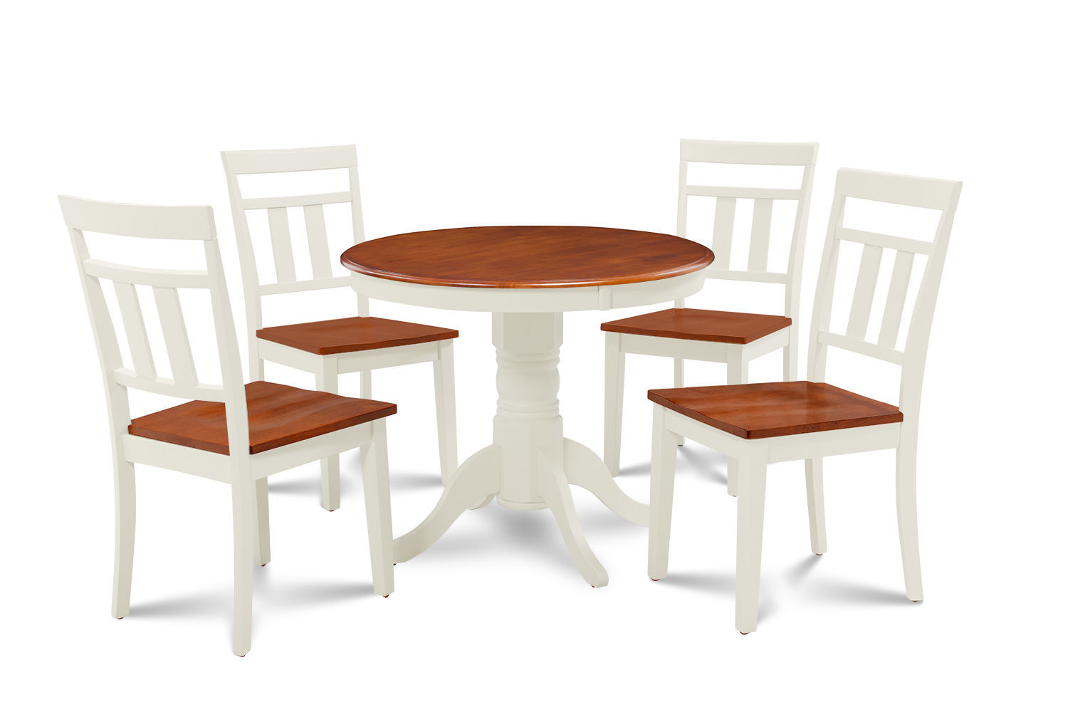 """36"""" BROOKLINE DINETTE DINING ROOM TABLE SET  IN BUTTERMILK & CHERRY FINISH"""