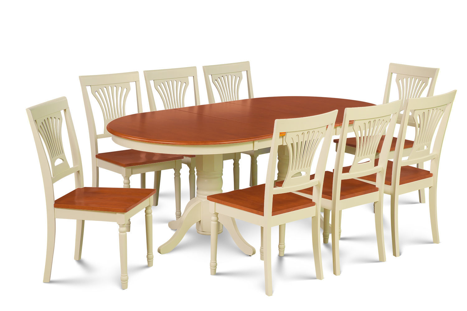 """DINETTE DINING ROOM TABLE SET 42""""X78"""" W. WOODEN SEATS IN BUTTERMILK & CHERRY"""