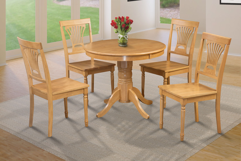 "36"" BROOKLINE DINETTE DINING ROOM TABLE SET w. WOODEN SEAT IN OAK FINISH"